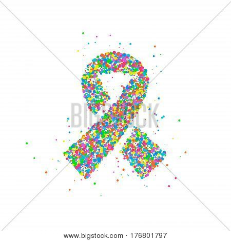 Abstract World Day against Cancer splash multicolored circles. Vector illustration.