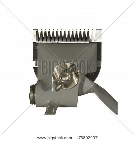 Old vintage manual metal hair clipper isolated on white background