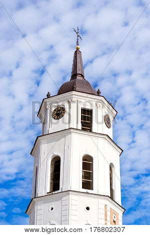 Bell Tower of Vilnius Cathedral Basilica of Saints Stanislaus and Vladislaus Chapel of St Casimir. Historical and religious architectural landmark of major European cities. Lithuania