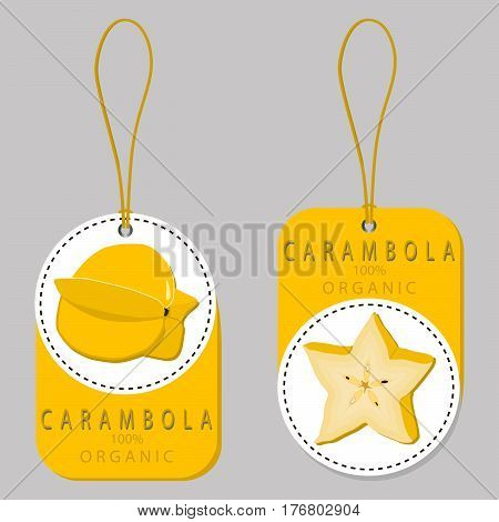 Vector illustration logo for whole ripe fruit yellow carambola cut half sliced background.Carambola drawing pattern consisting of tag label natural sweet food.Eat fresh raw organic fruits carambolas.