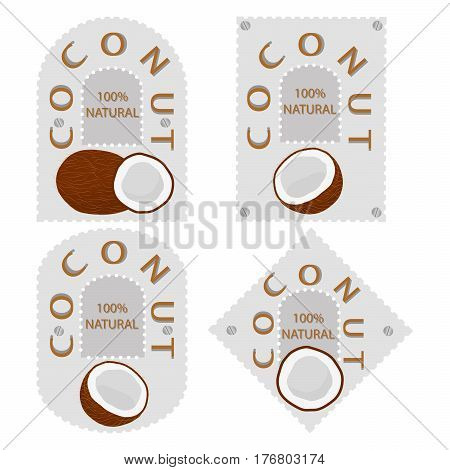Vector illustration logo for whole ripe fruit white coconut cut half nut background.Coconut drawing pattern consisting of tag label natural coco milk.Eat fresh raw organic coconuts fragrant flesh palm