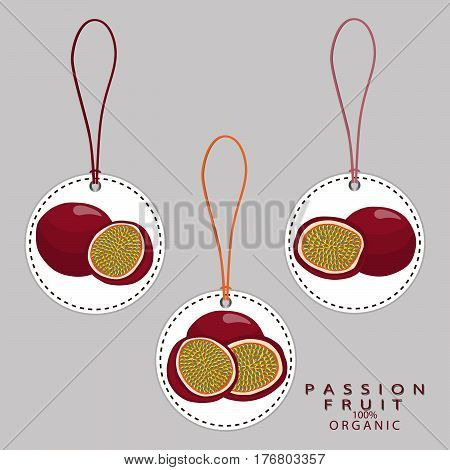 Vector illustration logo for whole ripe passion fruit,cut half sliced,background.Passion Fruit drawing pattern consisting of tag label,natural sweet food.Eat fresh raw organic passions berry to health