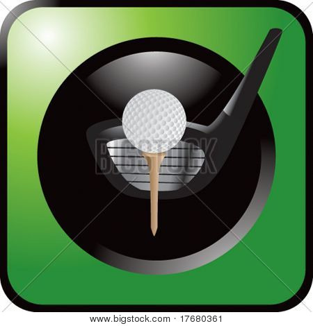 golf ball on tee with club on green web button