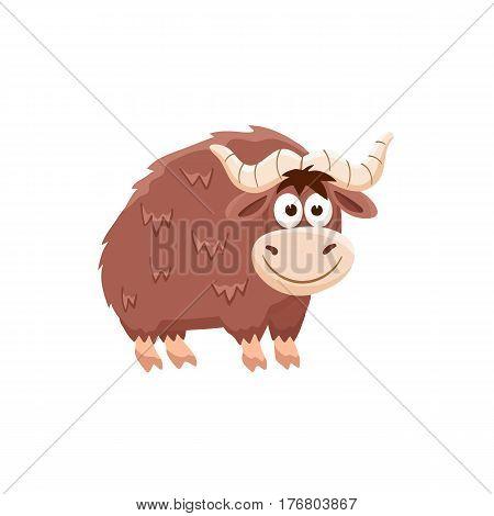 Adorable yak illustration. Cute cartoon animal isolated on white background.