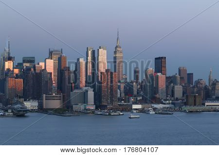 New York city skyline landscape on sunset