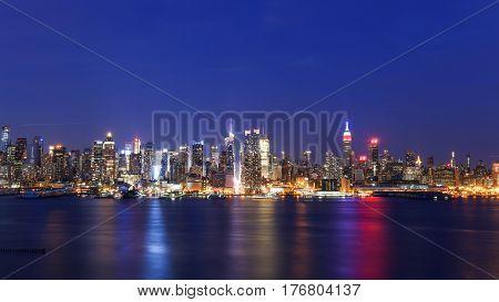 magical blue night on New York City