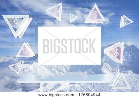 Abstract laptop with blank white screen and triangular pieces with dollar signs on winter landscape background. Digital money concept. Mock up 3D Rendering.