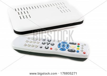 Remote And Receiver For Internet Tv On White Front View