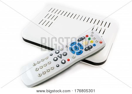 Remote And Receiver For Internet Tv On White Top View
