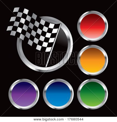 racing checker flag on round web button