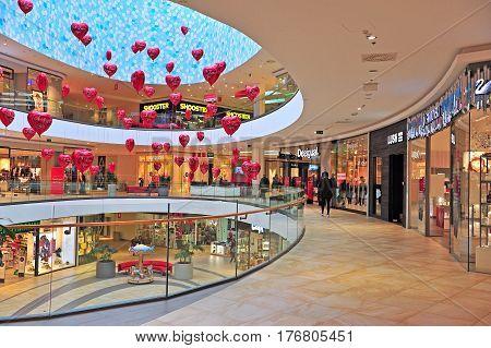 SPLIT CROATIA - FEBRUARY 18: Shopping gallery of Mall of Split city center in Split on February 18 2017.