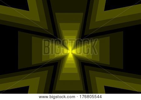 Cross - abstract geometric yellow background , Abstract cross