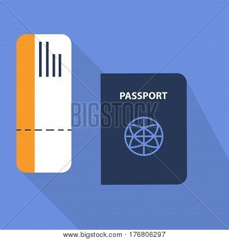 passport and avia ticket travel flat style with long shadow