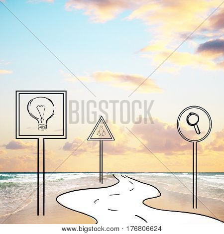 Abstract image of road signs and pathway in ocean. Sky with clouds background. Creative ideas and research concept