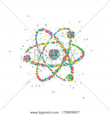 Abstract nucleus of an atom splash multicolored circles. Photo illustration.
