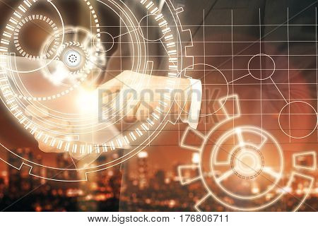 Close up of male hands using tablet with abstract digital pattern on blurry city background. Technology concept