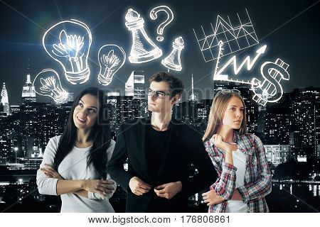 Attractive young businessman and women with creative drawn lamps charts dollar sign and chess figures on city background. Partnership concept