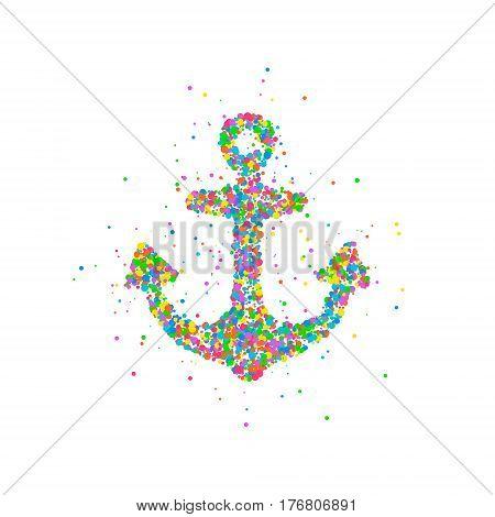 Abstract anchor splash multicolored circles. Photo illustration.