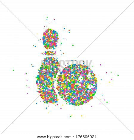 Abstract bowling ball with pin splash of colored circles. Photo illustration.