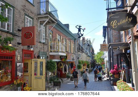 QUEBEC CITY, CANADA - SEP 10, 2011: Rue du Petit-Champlain at Lower Town (Basse-Ville) in Quebec City, Quebec, Canada. Historic District of Quebec City is UNESCO World Heritage Site.