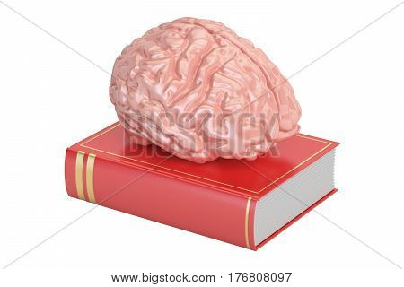 Book with brain knowledge concept. 3D rendering isolated on white background