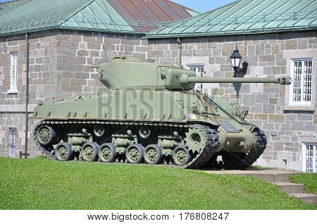 WWII M4 Sherman Tank at La Citadelle in Quebec City, Quebec, Canada.