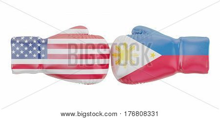 Boxing gloves with USA and Philippines flags. Governments conflict 3D rendering