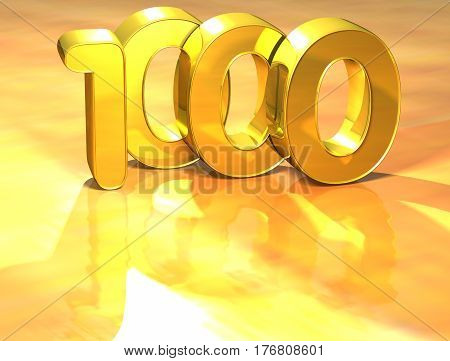 3D Gold Ranking Number 1000 On White Background.