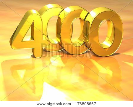 3D Gold Ranking Number 4000 On White Background.