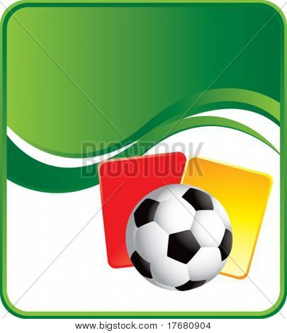 soccer ball and penalty cards on wave background