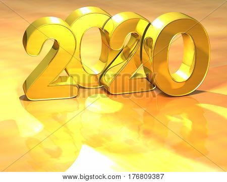 3D Gold New Year 2020 On White Background