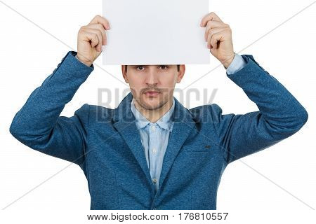 Depressed Businessman holding white paper over his head on white background.