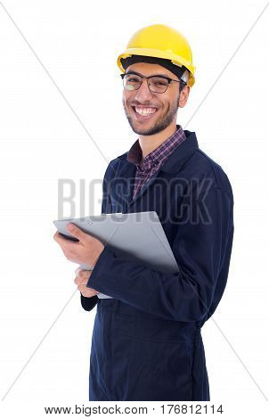 Young worker smiling - isolated on white background