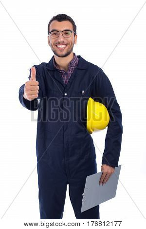 Young worker thumbs up on white background