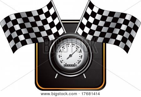 racing checkered flags and speedometer on web button