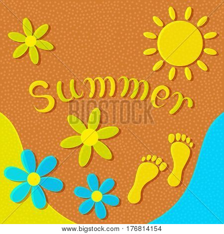 Sandy beach, sun, flowers and footprints on the sand form an abstract summer background.
