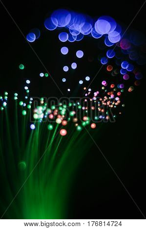 Abstraction Of Green Threads Of A Fiber Optic Night-lamp.