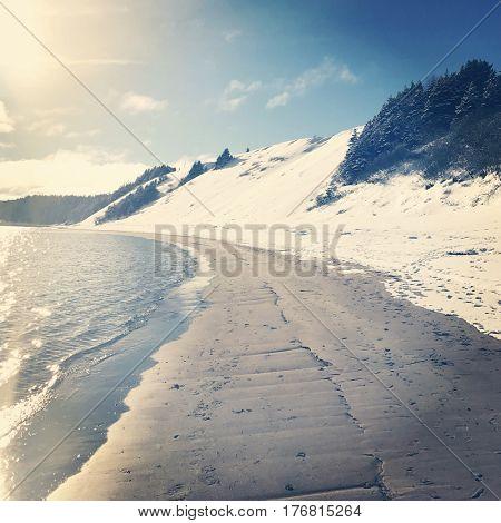 Beautiful Sandy beach in Newfoundland in Winter - Instagram effect