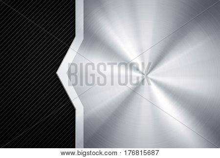 metal template with striped background