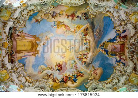 Ceiling In Pilgrimage Church Of Wies. Interior View. Bavaria, Germany.