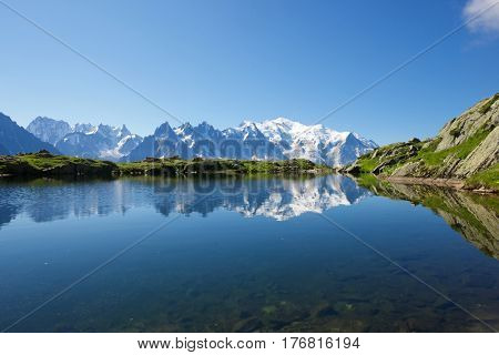 Mont Blanc reflected in Cheserys Lake, Mont Blanc Massif, Alps, France.