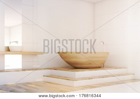 Bathroom Corner With A Mirror, Wood, Toned