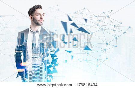 Bearded Young Man And Network