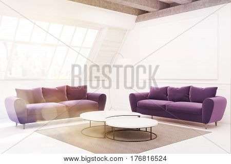 Two Vinous Sofas And A Table, Side View