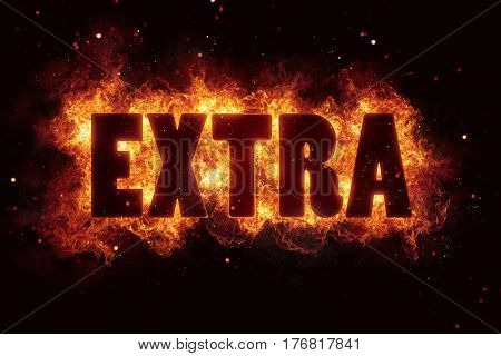 extra bonus fire flame flames text burn glow hot label