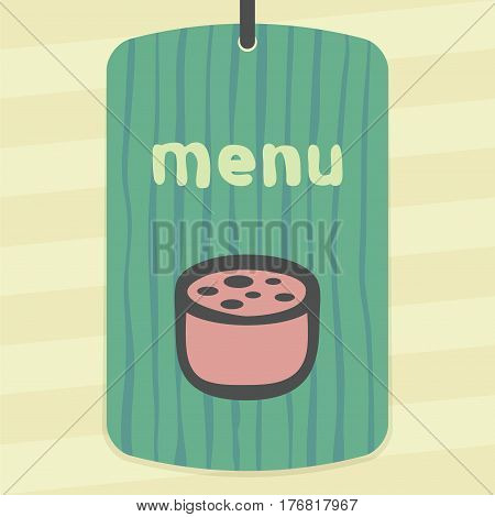 Vector outline pork, beef, mutton meat sausage cutting food icon on label with hand drawn striped background. Elements for mobile concepts and web apps. Modern infographic logo and pictogram.