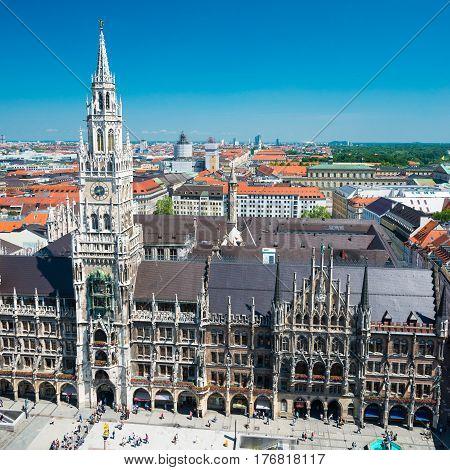 New Town Hall On Marienplatz Square In Munich, Germany.
