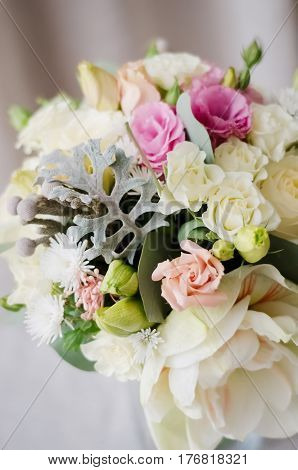 gift bouquet. White and pink flowers on burlap  decorative clot
