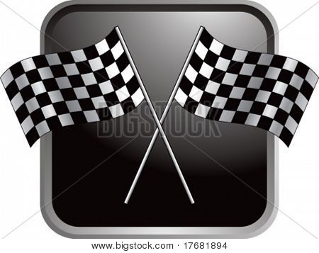 racing checkered flags on web button