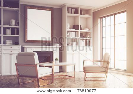 Living Room With Gray Walls And An Armchair, Toned
